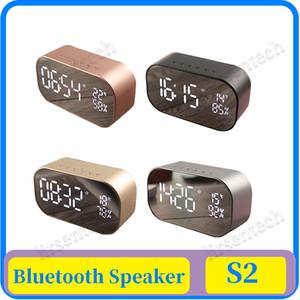 15 배 AS2 블루투스 스피커 무선 LED 디스플레이 디지털 알람 시계 서브 우퍼 스테레오 스피커 지원 FM 라디오 / / AUX-에서 TF 카드 거울