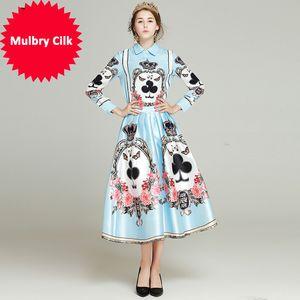 Alta calidad Nueva Fashion Runway Designer Suit Set estampado de mujer Turn-down Collar Blusa + Imprimir Falda Suit Set