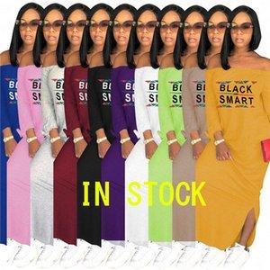 Schwarz Smart-Druck-Frauen-Designer-lange Kleid-Boot-Ausschnitt Schulterfrei Sommer Maxikleider beiläufiges Partei-sexy Split Rock-Kleid Plus Size D62911