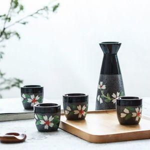 200ML اليابانية نمط أزهار الكرز ساكي وعاء زجاجة الإبريق الخمور الكؤوس مجموعة من 5 PCS سيراميك الورك قارورة النبيذ القدح
