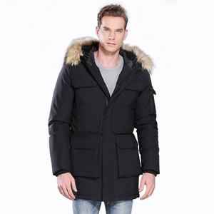 Winter Men Windproof Multi Pockets Zipped Solid Large Faux Fur Wool Collar Hooded Cotton-Padded Warm Long Outwear Thicken Gift Coat Jacket