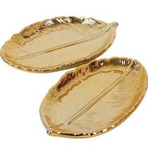 Hoja de oro decorativo placa de cerámica plato de porcelana caramelo de la baratija de la joyería el plato de fruta plato para servir Bandeja de almacenamiento Vajilla Vajilla