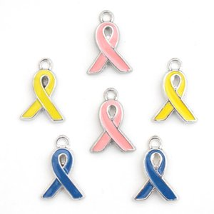12 * 17mm encantos consciência cor de rosa Yellow Ribbon Tie Pendant cancro da mama esmalte DIY Acessórios Para Handmade colar de jóias mulheres