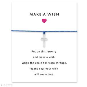 Nuovi braccialetti fatti a mano con ciondolo a forma di croce per donna Uomo Dichiarazione di amicizia Desideri gioielli Regalo con la carta