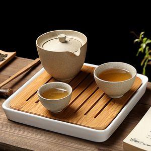 Keramik Teekanne tragbare Reise-Tee-Satz-beweglicher Teaware 1 Topf 2 Cup Chinese Gaiwan Für Kung Fu Tea Startseite Kaffee Jahrgang Trinkgefäße