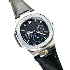 Top Nautilus reloj de los hombres automáticos de lujo Relojes Orologio mecánico del Mens di Lusso Reloj cronógrafo de relojes de diseño de cuero correa