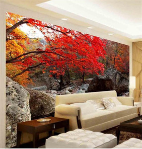 tamaño personalizado 3d fotografía de fondo sala de estar cuarto de la cama mural de otoño árbol de arce rojo foto río sofá TV telón de fondo pintado no tejida etiqueta