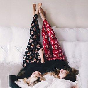Women Winter Warm Christmas Snowflake Pajamas Leggings Cotton Skinny Hot Pants