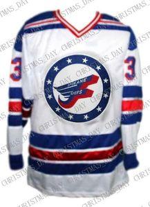 Custom # 3 Bunday Spokane Flyers Retro hokey Jersey New Bianco Personalizzato punto qualsiasi numero qualsiasi nome Mens Hockey Jersey XS-5XL