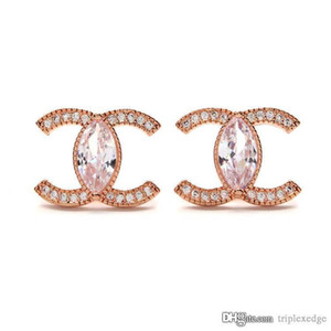 Fashionable Female 925 Silver Pin Stud Earrings High Quality 18K Rose Gold Crystal Earrings Temperament Korean Jewelry