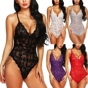 La ropa interior atractiva de las mujeres ropa de noche del cordón de la ropa interior de las muñecas sin espalda Mujer Damas ropa de dormir Body Nueva ver a través de la ropa