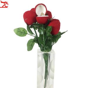Rose Ring-Anzeigen-Aufbewahrungsbehälter-Vorschlag, Verlobung, Hochzeit Ring-Kasten Rote Rose Ohrringe Andenken Anhänger Schmuck Geschenk-Box