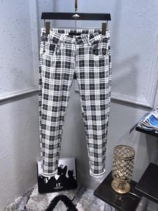 New Plaid Designer Herren Jeans College-Art-Radfahrer Freizeit Fit dünne Jeans Mens-beiläufige feste klassische gerade Denim Designer Jeans-Größe 29-40