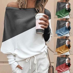Стиль футболки лето свободные плюс размер контрастный цвет топы женский Слэш шеи с длинным рукавом одежда Женская обшитая панелями пр