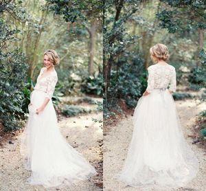 2021 Богемная страна Свадебные платья Свадебные платья половина рукава Sexy V-образным вырезом Шикарное платье для беременных для беременных Цветочные кружевные аппликации Аппликации линии DE MARIEE PLUS Размер AL6090