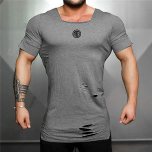MarchWind Marque Cotton T Shirt Men Vintage Ripped T-shirt Trou hommes Mode Casual Top Tee Hommes Hip Hop Activewears Fitness T-shirt Homme