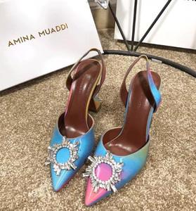 [Orignal Box] New Arrival Womens Crystal High Heels 100MM Amina Muaddi Slingbacks Sheepskin Summer Breathe Buckle Strap Shoes 35-42