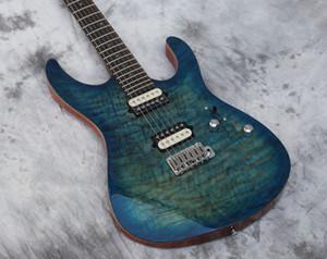 Guitarra eléctrica personalizada de alta calidad, la mejor guitarra, cuerpo Mahongay de tigre flameado, acolchado azul, pastillas zabra, en stock, enviados rápidamente