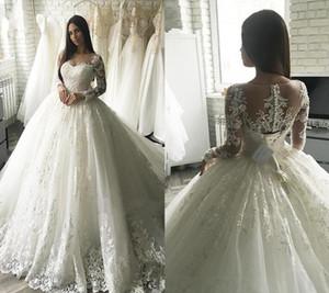 2019 Modeste Nouvelle arrivée robe de bal robes de mariée en dentelle à manches longues Appliqued dos transparent avec bouton couvert Ceinture longue Dubaï arabe Robes