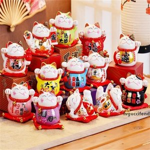 Cartoon Mini Ceramic Ornament Cute Fat Happy Lucky Cat Waving Hand Maneki Neko Piggy Bank For Home Decor Toy Gift 11yl BB