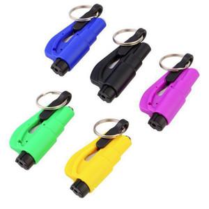 6 couleurs Mini Auto Fenêtre en verre Briser Marteau de sécurité de sauvetage d'évacuation d'urgence avec porte-clés sangle Cutter couteau