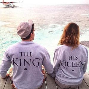 Moda Mulheres Homens O Rei Sua rainha romântico Seu e seu par bonito manga comprida Pullover Voltar Letter Grey solto camisola