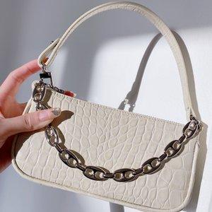 Ящерица-печать цепи кожи на одно плечо сумка Mini ретро Урожай леди сумки Женщины роскошный дизайн Underarm Сумка Багет Dropship T200605