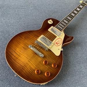 Loja personalizada Guitarra 1959 R9 Mahogany corpo Tabaco explosão Chama top, fret edge binding, uma peça do corpo neck.tone-pro bridge190308