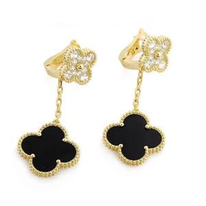 luxury designer jewelry women earrings high quality brand earrings fashion double flower earrings fashion dangle diamond earring 2020