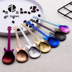 304 Stainless Steel Creative Guitar Shape Love Coffee Spoon Teaspoon Music Bar Spoon Multicolor