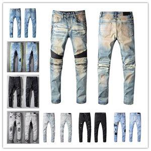 بالمنجينز جديد أزياء الرجال العلامة التجارية بلاك جينز نحيل ممزق دمرت تمتد صالح سليم الهيب هوب سروال مع ثقوب للرجال