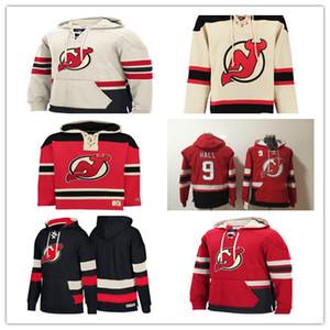 Sudadera con capucha personalizada de los New Jersey Devils para hombre 13 Nico Hischier 9 Taylor Hall 35 Cory Schneider 30 Martin Brodeur Andy Greene