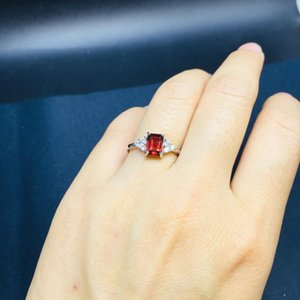 925 Sterling Silver Rings Natural Garnet Gemstone Fine Jewelry Birthday for Women Rings open Simple style j050702ags