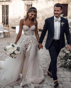 Gelinler elbise de mariée BC2024 için basit Design Plus Boyut Ülke Stil 3D Çiçek Aplikler A-Line Gelinlik Bohemian Gelin Önlükler