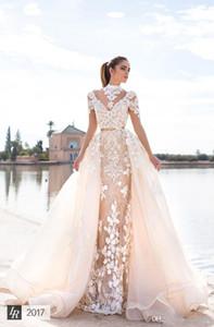 2020 Nouvelle Llorenzorossib Ridal Robes de mariée Rêves Sash Sexy Backless Custom Made Robes de mariée Applique détachable Robe de mariée sirène 580