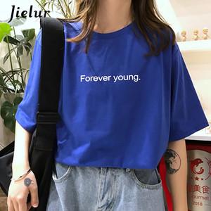 Jielur tişört Kadınlar Harajuku Gevşek Casual Daima Genç Mektupları Tişörtlü Yaz Hipster Kore Sokak Temel Tshirts Mor