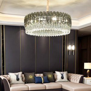 Smoky crystal chandelier lighting for villa decor living room bedroom dining room new luxury contemporary led pendant lights hanging lamps