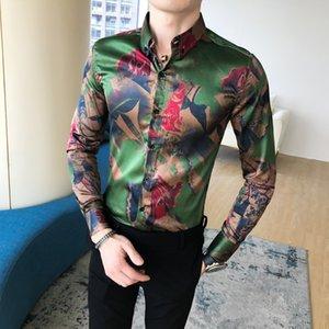 Сорочка мужская Цветочный печати Формальные рубашки Мужчины Костюмер Casual Luxury рубашки Regular Fit Style Осень Мужчины Одежда XXXL