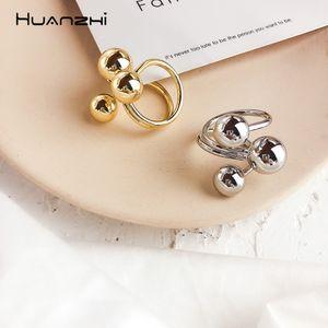 HUANZHI Преувеличение золото Цвет металлический шар Открытые кольца Простой дизайн Геометрический Нерегулярные перстни для женщин партии ювелирных изделий