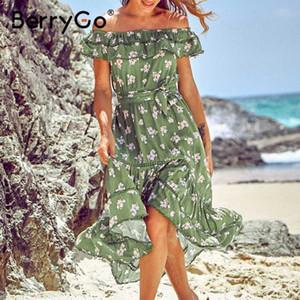 BerryGo Off mujeres playa verano hombro vestido de cintura alta faja midi impresión floral del vestido de las mujeres 2020 de la primavera vestidos de verano damas
