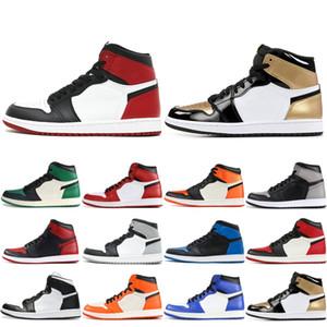 İyi Kalite 1 OG Erkek Yüksek Basketbol Ayakkabı Siyah Burun Üçlü Beyaz Oyun Kraliyet Saten Arkalık Sport Sneakers Shattered