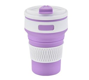 perakende paketin Outdoor Ölçeklenebilir Kahve Fincanı içinde Kapak Kapaklı 500pcs Yumuşak Silikon Su Kupa Tumblers Portatif Katlanır Su Şişesi 350ml