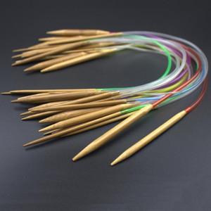 """New Multi-color 18pcs / set 16"""" 40 centímetros do tubo conjuntos de ferramentas Carbonized Circular Bamboo carbonizada agulhas de tricô Artesanato Fios"""