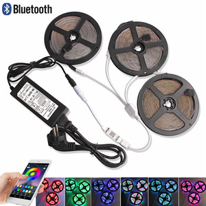 5M 10M 15M RGB LED Faixa SMD 2835 Tape Set DC 12V LED fita flexível Fita Light Strip RGB diodo + Bluetooth Controlador + adaptador