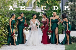 Новые Different Вырез 2020 Sexy невесты платья Ruched High Side Split Long платье горничной честь Gowns