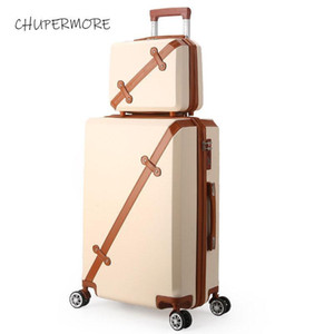 Chupermore Moda Retro Rolling Bagaj Spinner Sevimli Bavul Tekerlekler 20 inçlik Kadınlar Seyahat Çantaları Şifre Trolley Carry On ayarlar