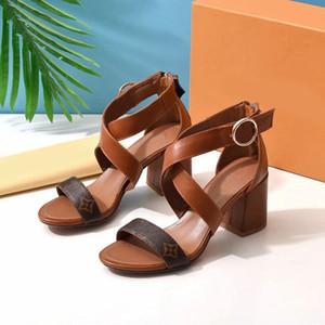 Avec la boîte! Femme Chaussons chaussure talon Sandales plage Diapo meilleure qualité Chaussons Mode Scuffs Chaussons en cuir véritable pour Lady par shoe02 A19