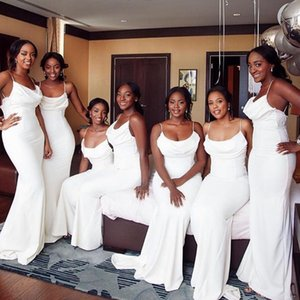 African Mermaid Bridesmaid Dresses Cheap White Sleeveless Simple Spaghetti Strap Ruched Floor Length Satin Wedding Guest Evening Dresses