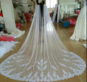 Real Photo New Cathedral Length Bridal Cape Cloak Lace Long Wedding Dress Accessory in White Ivory