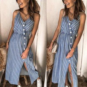 Şık Kadın Çizgili Kemer Düğme Yüksek Bel Yarık Kayış Düğme Kayış İnce Boyu Bölünmüş Tasarım Commute Mini Elbise